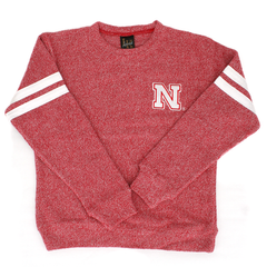 Girls Double White Stripe Red Nebraska Huskers Sweatshirt