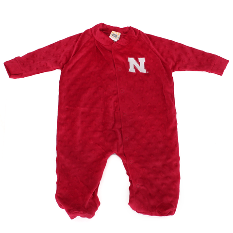 Infant Nebraska Huskers Footed Cuddle Bubbles Romper-Red