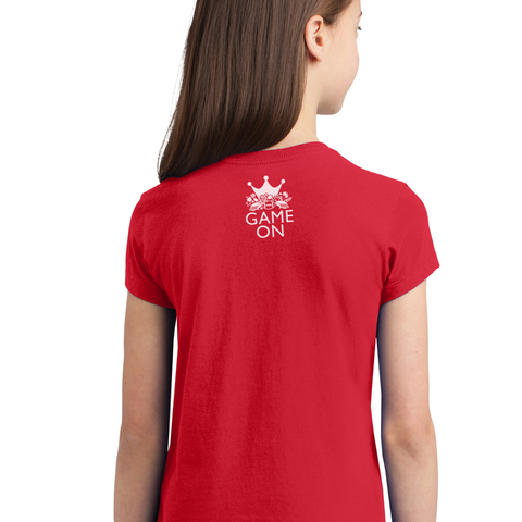 Kids/Youth Girls Keep Calm and Game On Tee-Red Back