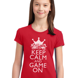 Kids/Youth Girls Keep Calm and Game On Tee-Red