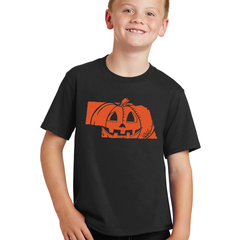 Kids/Youth Nebrask-O-Lantern Halloween Tee-Black