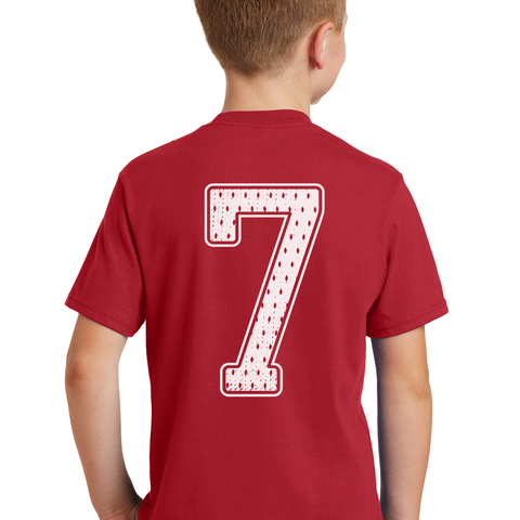 Kids/Youth Put Me In Coach Frost #7 Tee-Red Back