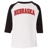 Toddler Nebraska 3/4 Raglan Sleeve Tee-White/Black
