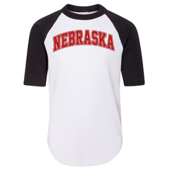 Youth/Adult Nebraska 3/4 Sleeve Baseball Jersey-White