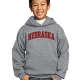 Kids/Youth Nebraska Hoodie-Grey
