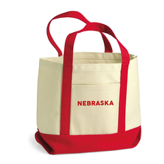 Nebraska Small Cotton Canvas Red Boater Tote