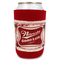 Red Can Koozie with Nebraska Good Life Patch