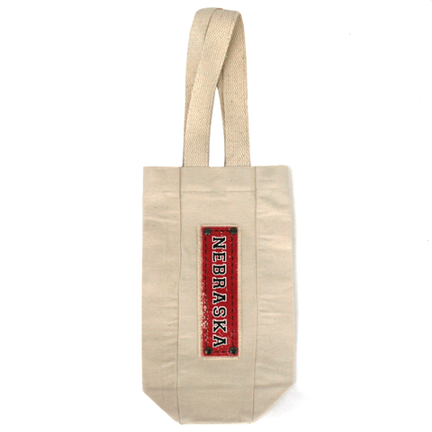 Nebraska Canvas Single Bottle Wine Tote