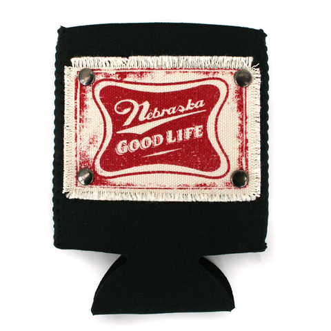 Nebraska Good Life Patch Black Can Koozie - Collapsible