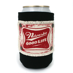 Nebraska Good Life Patch Black Can Koozie