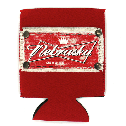 Red Can Koozie with Nebraska Genuine Patch