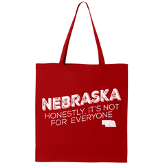 Nebraska Honestly, It's Not for Everyone Red Canvas Tote