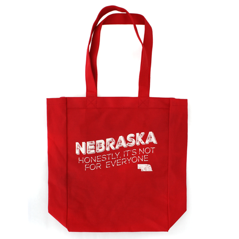 Nebraska Honestly, It's Not for Everyone Red Canvas Tote Handles
