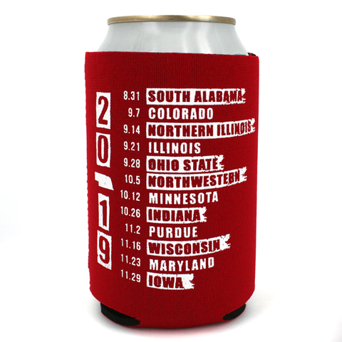 2019 Nebraska Schedule Red Can Koozie with Can Side 2