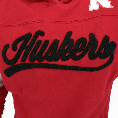 Juniors Huskers Pullover Hoodie-Red Detail