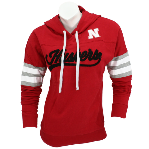 Juniors Huskers Pullover Hoodie-Red