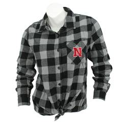 Juniors Buffalo Check Flannel Tie Nebraska Shirt-Black