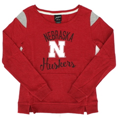 Juniors Nebraska French Terry Crew Sweatshirt-Red