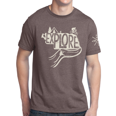 Explore Nebraska T-Shirt-Brown Heather