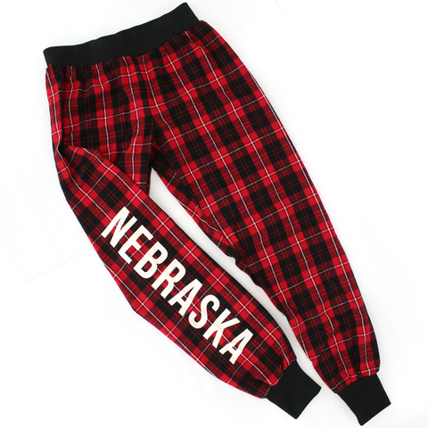 Youth Unisex Nebraska Plaid Flannel Jogger Pant-Red