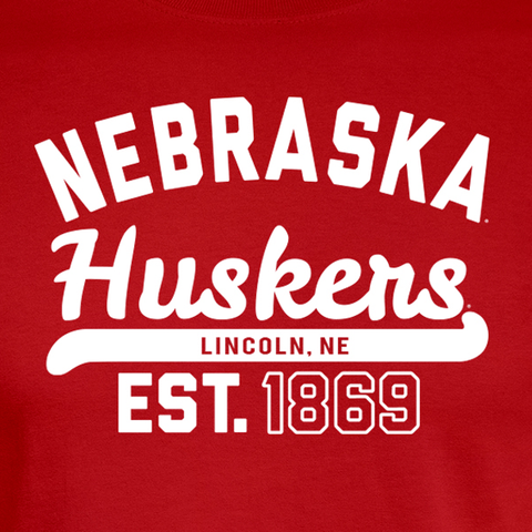 Nebraska Huskers Est. 1869 Red T-Shirt Detail