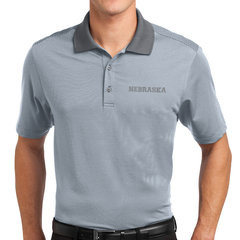 Men's Nebraska Fine Stripe Performance Grey Polo