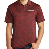 Men's Nebraska Electric Heather Red Polo