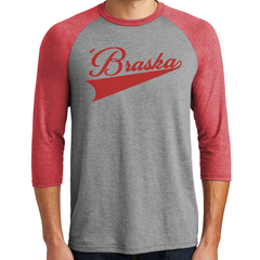 Men's Tri-Blend 'Braska 3/4 Sleeve Raglan T-Shirt Model