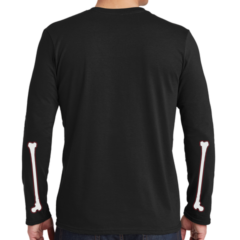 Men's Throw The Bones Skeleton Long Sleeve Black T-Shirt Back