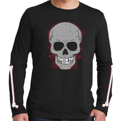 Men's Throw The Bones Skeleton Long Sleeve Black T-Shirt