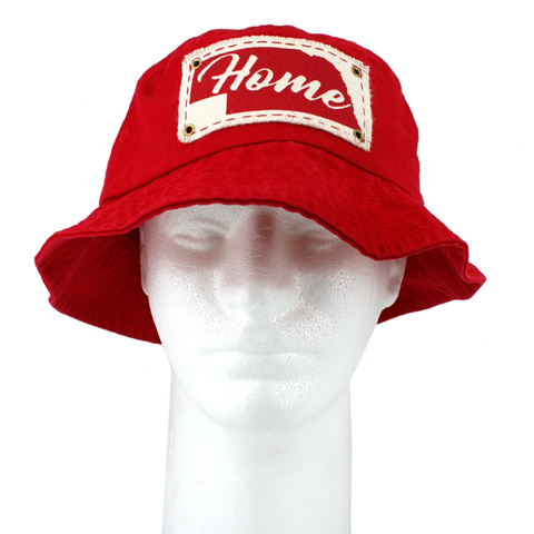 Men's Chino Twill Bucket Hat with Home Patch-Red Model