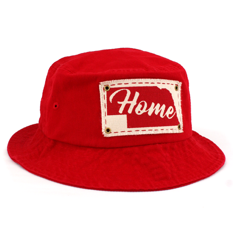 Men's Chino Twill Bucket Hat with Home Patch-Red