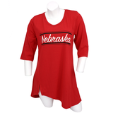 Women's Nebraska Tunic w/Sharkbite Hem-Red