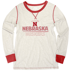Women's Nebraska Huskers Red & Heathered Long Sleeve T-Shirt