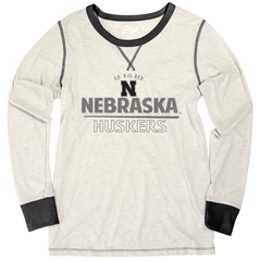 Women's Nebraska Huskers Black & Heathered Long Sleeve T-Shirt