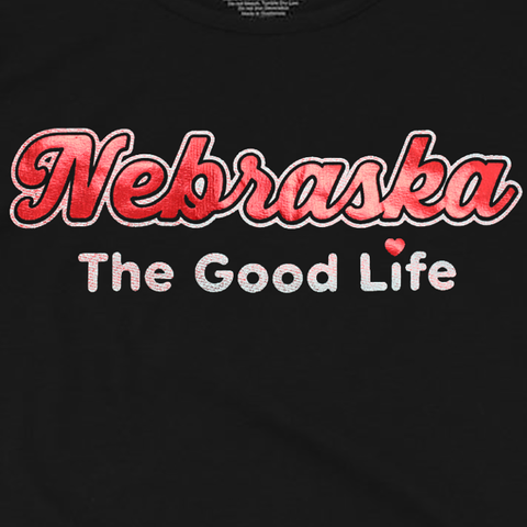 "Women's ""Nebraska The Good Life"" Cold Shoulder Tee-Black Detail"
