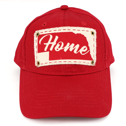 Youth Unstructured Twill Cap with Home Patch-Red Front