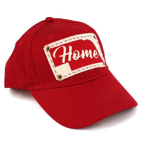 Youth Unstructured Twill Cap with Home Patch-Red Side