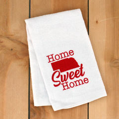 Home Sweet Home Nebraska Hand Towel White