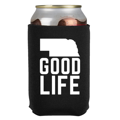 Nebraska State Good Life Can Koozie-Black