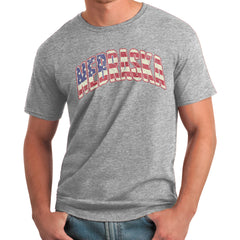 Nebraska Stars & Stripes Grey Flag T-Shirt