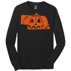 Men's Nebrask-O-Lantern Cotton Halloween Tee-LS-Black