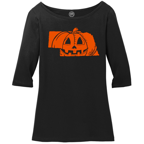 Women's Cotton Nebrask-O-Lantern Scoop Neck Halloween Tee-Black Detail
