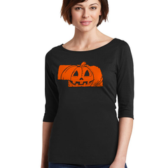 Women's Cotton Nebrask-O-Lantern Scoop Neck Halloween Tee-Black