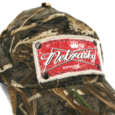 Men's Realtree Camo Nebraska Patch Hat Detail