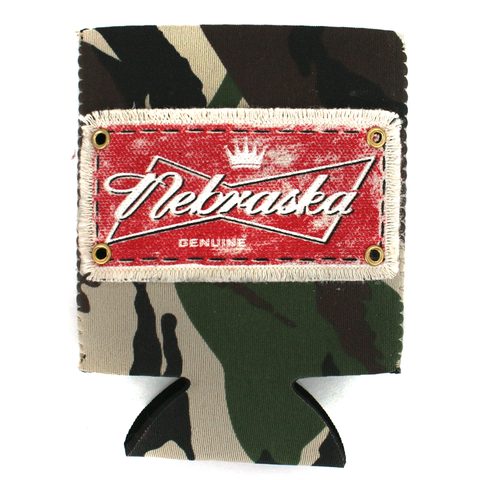 Nebraska Camo Koozie with Patch Detail