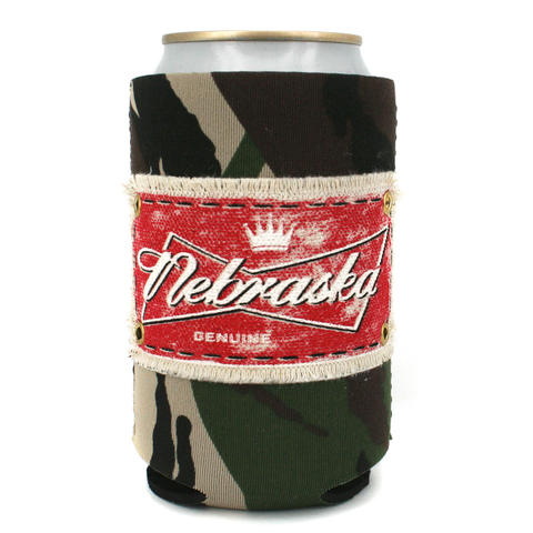 Nebraska Camo Koozie with Patch