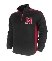 Men's Nebraska Hail Mary Half Zip Pullover - Black - LS
