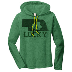 Women's Nebraska Lucky Hooded Long Sleeve Green T-Shirt