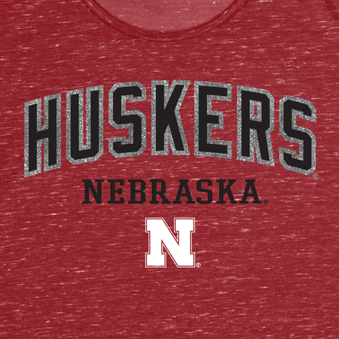Women's Nebraska Huskers Glitter Split Shoulder Tee - Red Detail